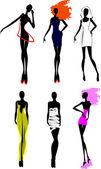 Six Fashion Girls Silhouette. More In My Portfolio. — Stock Vector