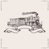Vintage Locomotive Banner. Vector illustration. — Stock Vector