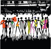 Fashion Show Crowd Vector — 图库矢量图片