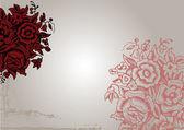 Original Vintage Red Flower Background. — Stock Vector