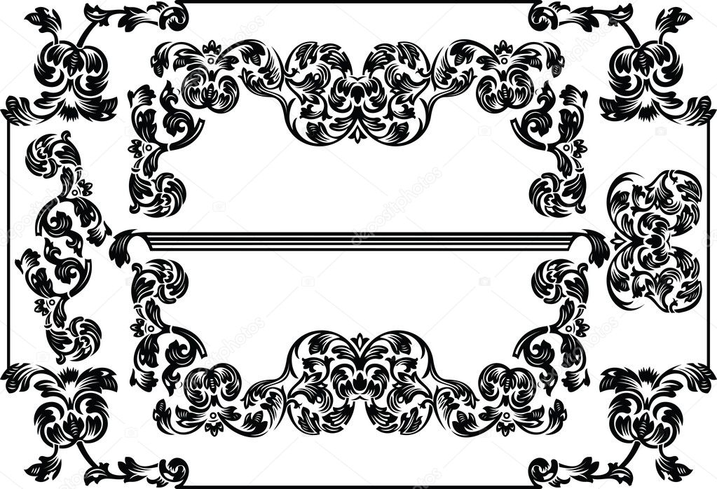 Vintage Frames And Design Elements  Stock Vector #7052576