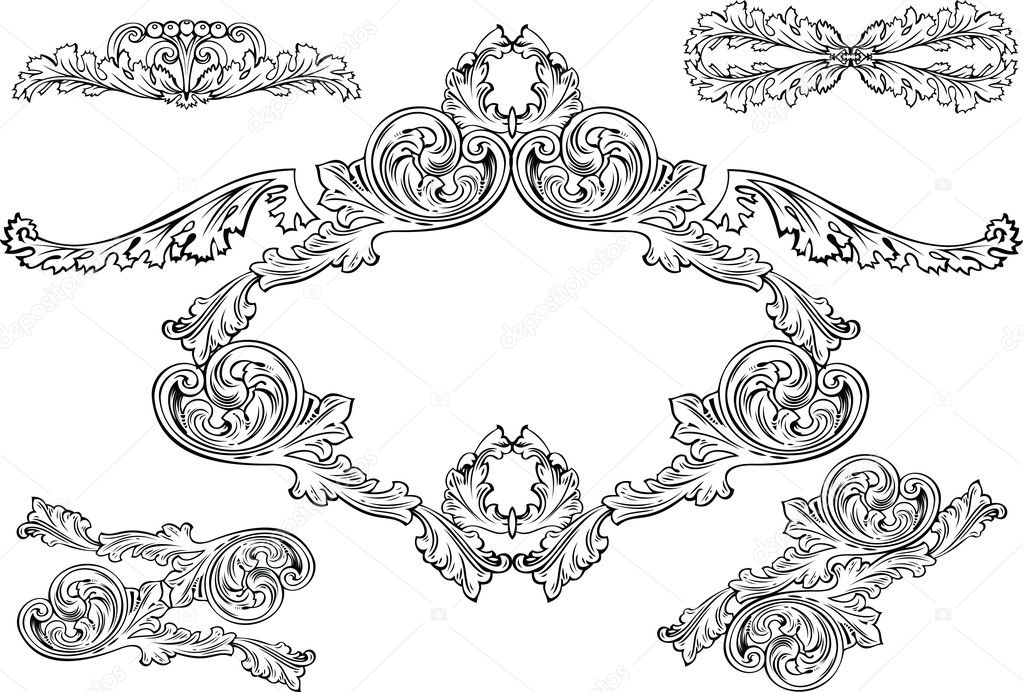 Vintage Barocco Frames And Design Elements — Imagen vectorial #7052613