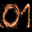 New Year 2013 made of real sparklers - Stock Photo
