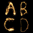 Real Sparkler Alphabet (see other letters in my portfolio). A B — Stock Photo