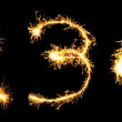 Stock Photo: Real Sparkler Digits. See other digits in my portfolio. 1 2 3 4