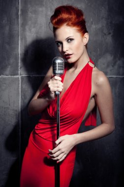 Female singer red dress