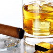 Glass of Whiskey and Cigar — Stock Photo #6763292