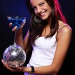 Young and beautiful woman in the nightclub - Zdjęcie stockowe