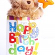 Cute Teddy Bear in gift bag — Stock Photo #6764094