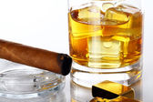 Glass of Whiskey and Cigar — Stock Photo