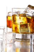 Glasses with cold whiskey — Stock Photo