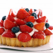 Fresh and tasty cake with strawberry and blueberry — Stok fotoğraf