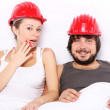 Couple with hard hats on heads - Safe sex concept — Stock Photo