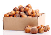 Close up of hazelnuts in box — Stock Photo