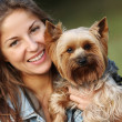 Beautiful woman with her cute dog — Foto Stock