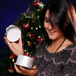 Stock Photo: Happy woman with Christmas gift