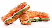 Croissant with basil, tomato and mozzarella — Stock Photo