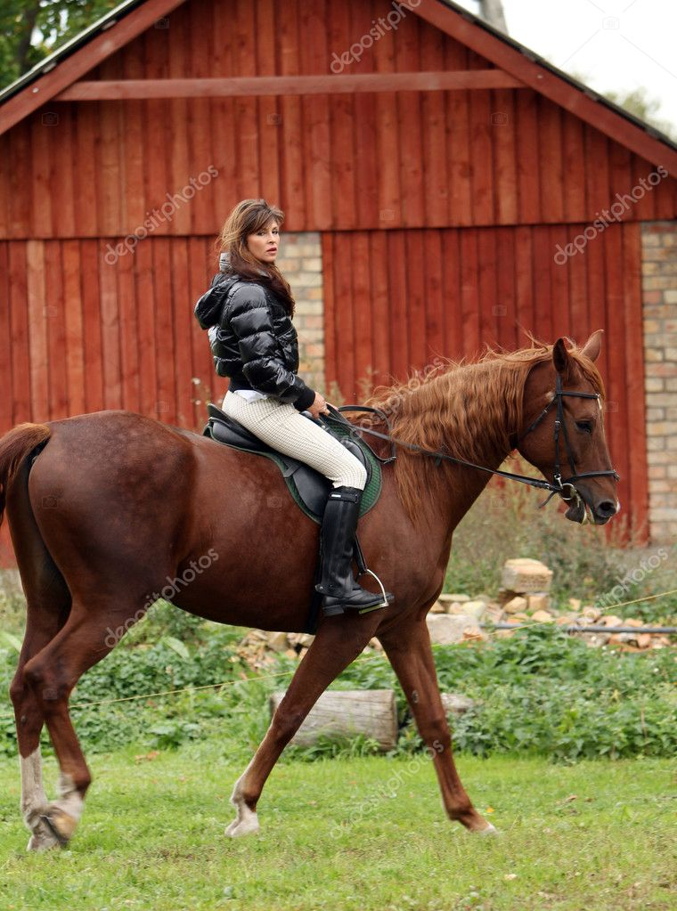 Woman and her beautiful  brown horse — Stock Photo #7182215