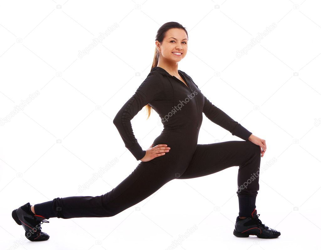 Beautiful and happy woman doing fitness exercises isolated over white — Stock fotografie #7182341