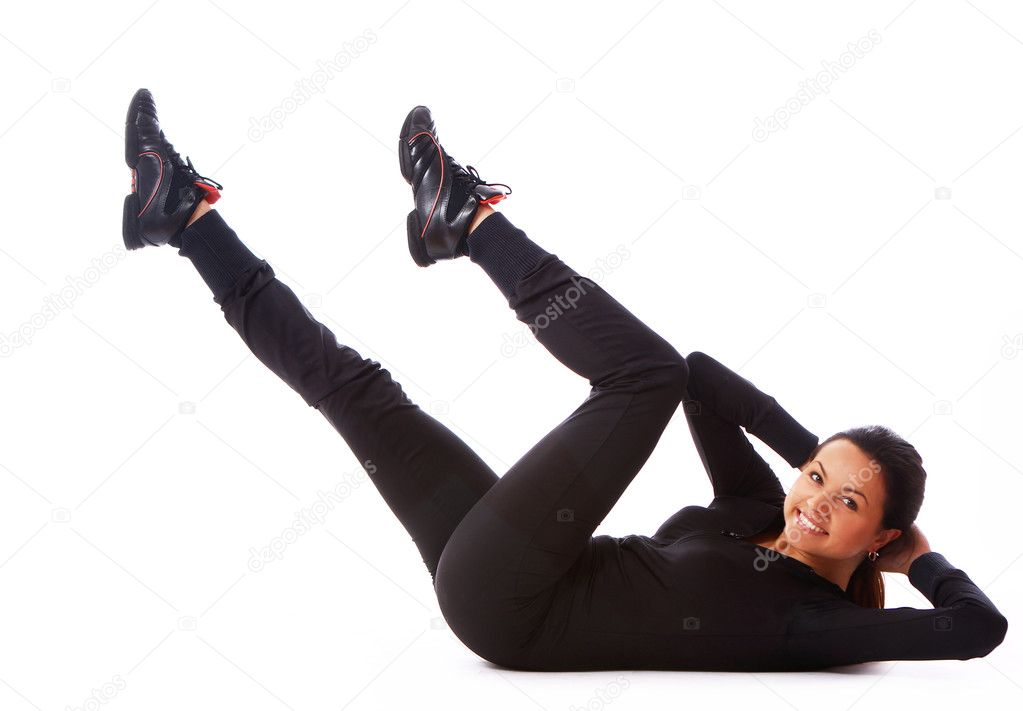 Beautiful and happy woman doing fitness exercises isolated over white — Stock Photo #7182344