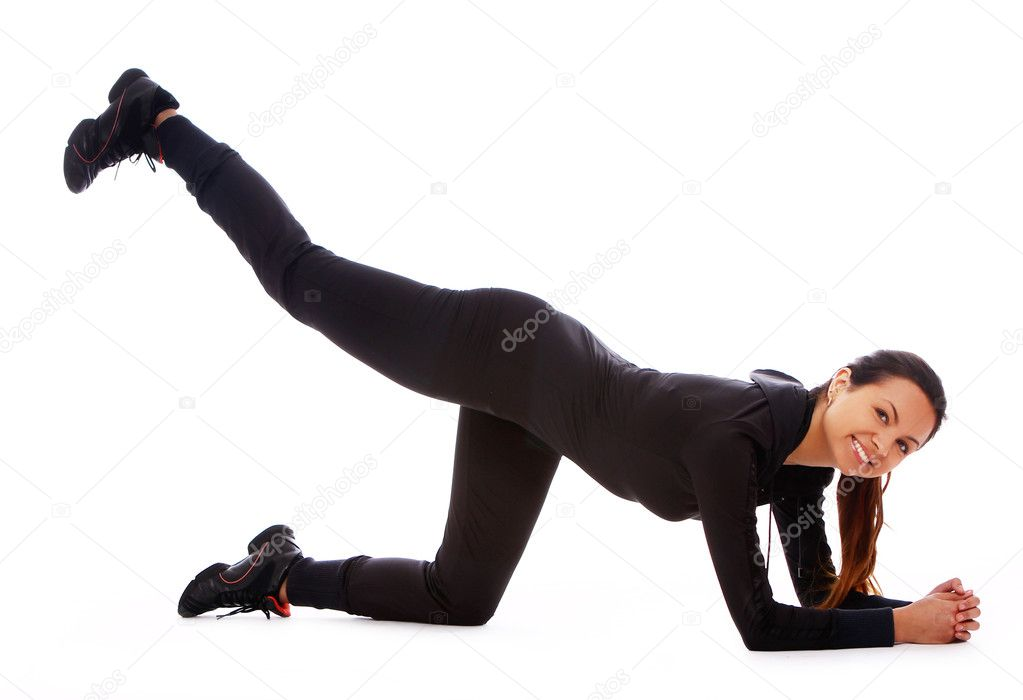 Beautiful and happy woman doing fitness exercises isolated over white — Stock Photo #7182350