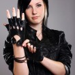 Young punk girl in leather — Stock Photo