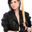 Royalty-Free Stock Photo: Young punk girl with baseball bat