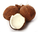 Fresh coconuts on white background — Stock Photo