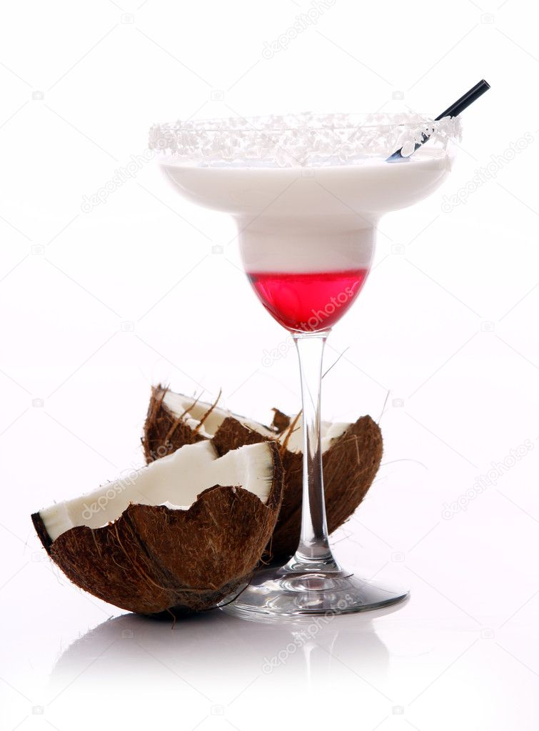 Fresh coconut cocktail over white background — Stock Photo #7398471