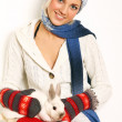 Beautiful girl and cute rabbit — Stock Photo