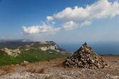 Cairn on a mountain top — Stock Photo