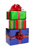 Gifts in colorful packages with bows. — Stock Photo