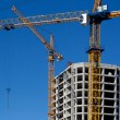 Two construction cranes — Stock Photo