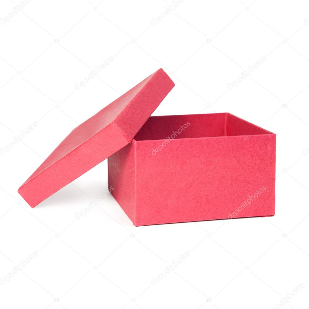 Red box with open cover. Isolate on white background — Stock Photo #7486292
