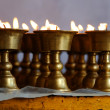 Candleholders with burning candles — Stock Photo