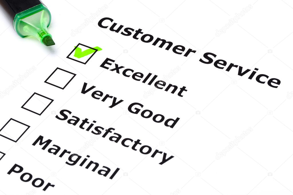 Customer service survey with green tick on Excellent with felt tip pen. — Stock Photo #6863383