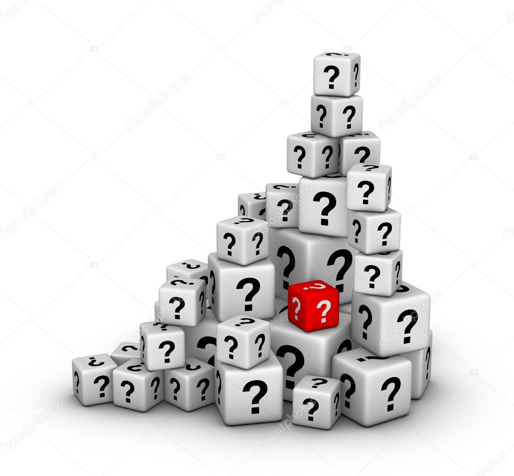 Pile of big and small dices with question marks  Stock Photo #6809297