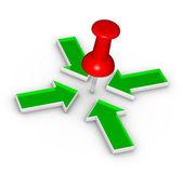 Thumbtack and arrows — Stock Photo