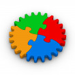 Gear of colorful jigsaw puzzles — Stock Photo
