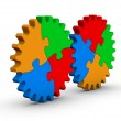 Two gears of colorful jigsaw puzzles — Stock Photo