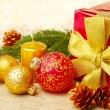 Christmas decorations with gift box — Stock Photo #7435315