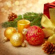 Christmas decorations with gift box — Stockfoto