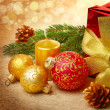 Christmas decorations with gift box — Stock Photo