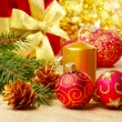 Stock Photo: Christmas decorations with gift box