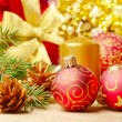 Christmas decorations with gift box — Stock Photo #7435356