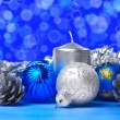 Christmas decorations over blue — Stock Photo