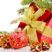 Decoraties met doos van de gift — Stockfoto