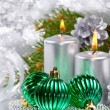 Royalty-Free Stock Photo: Christmas balls and silver candles