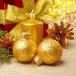Christmas decorations with gift box — Stock Photo #7568061
