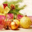 Christmas decorations with gift box — Stock Photo #7568075